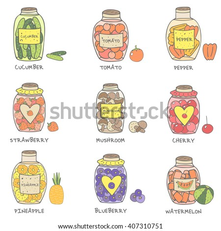 Cute hand drawn doodle jam and marinade jars collection including cucumber, tomato, pepper, mushrooms, strawberry, cherry, pineapple, blueberry, watermelon. Jam jars icon set - stock vector