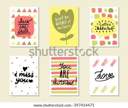 Cute hand drawn doodle postcards, cards, covers with different elements and quotes including love, i miss you, you are awesome, coffee addicted, save the date. Positive printable templates set - stock vector