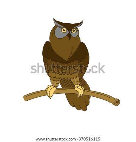Cute hand-drawn eagle owl - stock vector