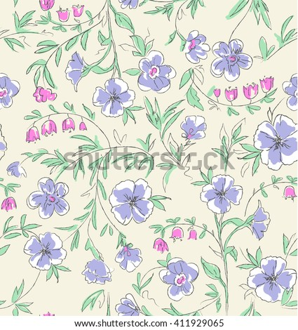 cute hand drawn floral print ~ seamless background - stock vector