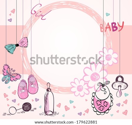 Cute hand drawn  frame with baby elements. - stock vector