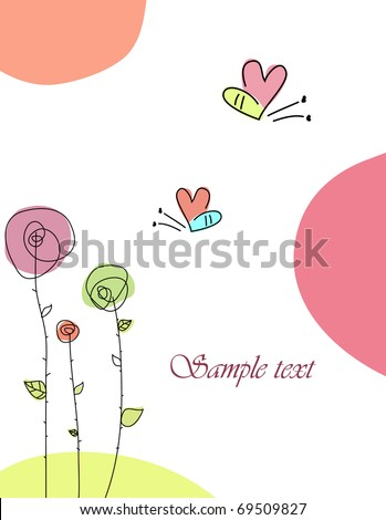 Cute hand drawn greeting card with butterfly - stock vector