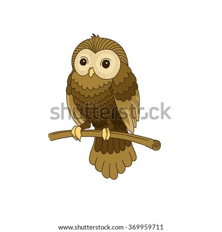 Cute hand-drawn grey owl - stock vector