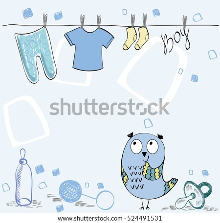 Cute hand drawn iilustration with cartoon owl.