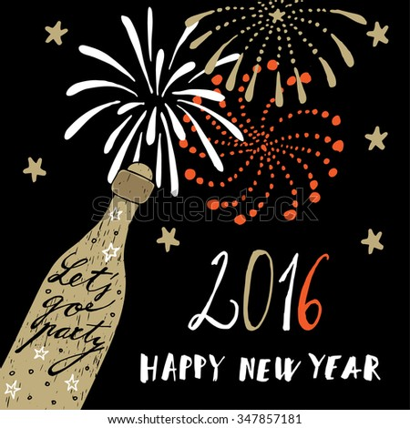 Cute hand drawn New Year 2016 greeting card with champagne bottle and fireworks, vector background - stock vector