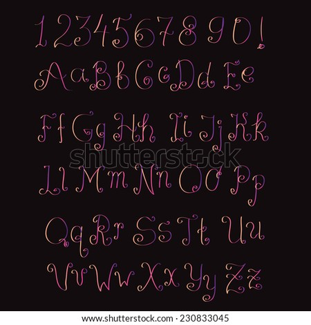 Cute hand drawn pink gradient alphabet made in vector. ABC for your design. Easy to use and edit letters - stock vector