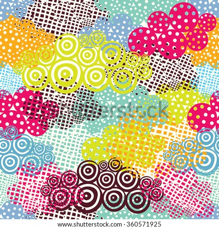 Cute hand drawn seamless pattern with decorative clouds.