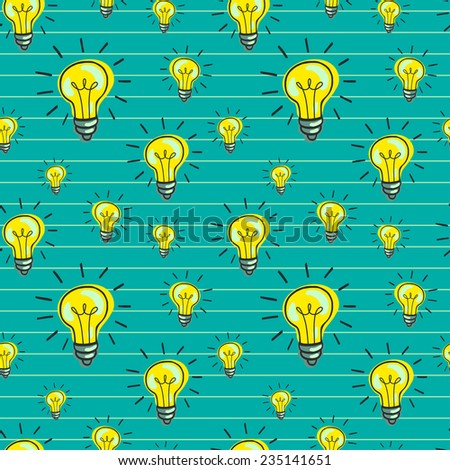 Cute hand drawn seamless pattern with doodle light bulbs. Cartoon tiling background. - stock vector