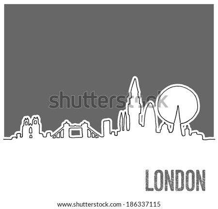 Cute Hand drawn Skyline of London City, Vector Doodle Style - stock vector