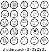 Cute hand-drawn smiles with amazing expressions - stock vector
