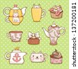 Cute hand drawn teapots, cups and cupcakes. - stock vector