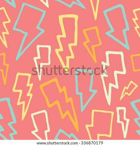 Cute hand drawn thunder bolts seamless vector pattern - stock vector