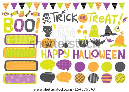 Cute hand drawn vector Halloween labels, icons, elements - stock vector