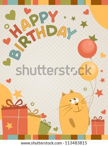 cute happy birthday card a cat - stock vector