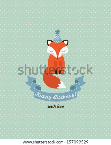 cute happy birthday card design. vector illustration - stock vector
