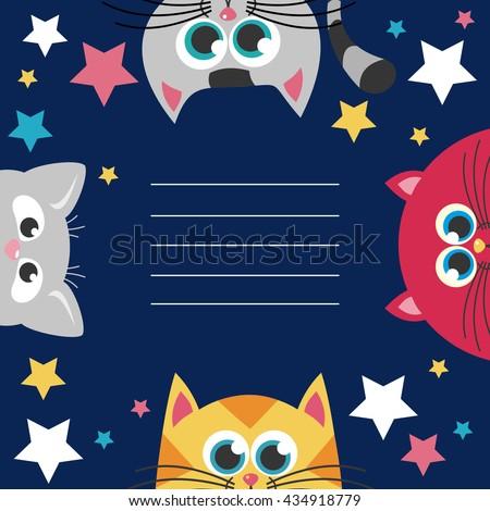 Cute happy birthday card. Vector illustration - stock vector