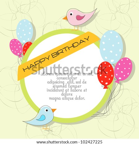 cute happy birthday card with bird and balloons