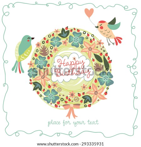 Cute happy birthday card with birds and wreath. Vector illustration for your design.
