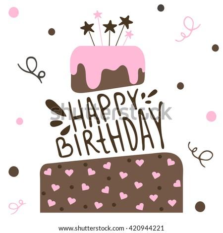 Cute Happy Birthday Card Cake Vector Vector 420944221 – Cute Happy Birthday Cards