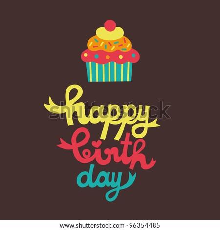 Cute Happy Birthday Card Cupcake Vector Vector 96354485 – Cute Happy Birthday Cards