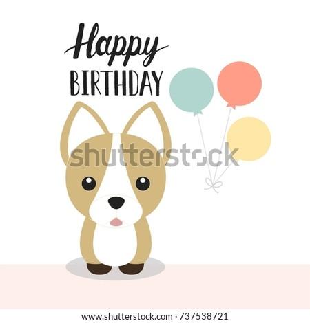 Cute Happy Birthday Card Cute Puppy Stock Vector 737538721