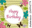 cute happy birthday card with flower. vector illustration - stock vector