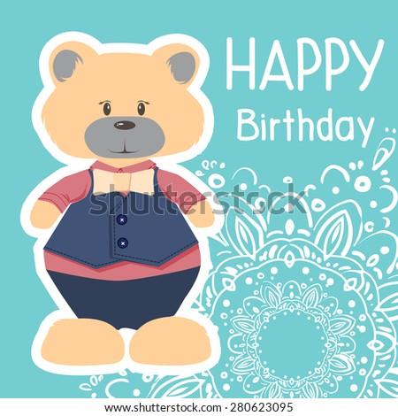Cute Happy Birthday Card Fun Bear Vector 280623086 – Cool Happy Birthday Card