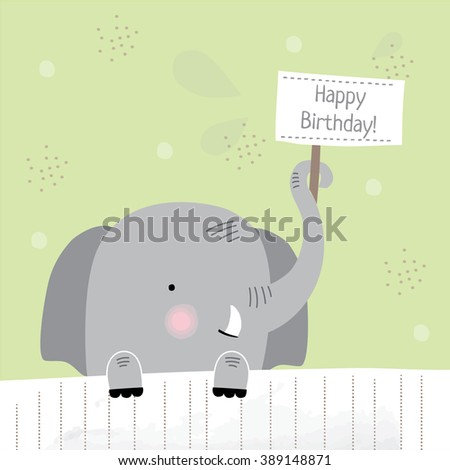 cute happy birthday card with fun elephant. vector design illustration