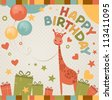 cute happy birthday card with giraffe. - stock vector