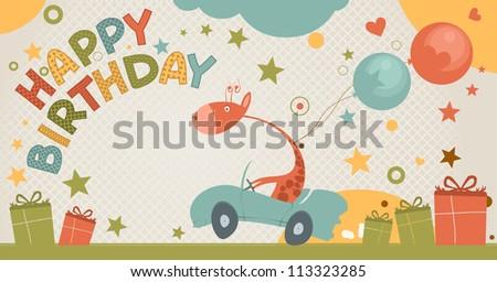 cute happy birthday card with giraffe. - stock vector