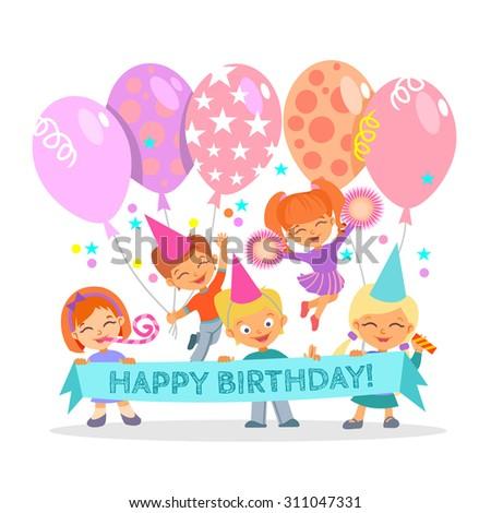 cute happy birthday design template group stock vector 311047331
