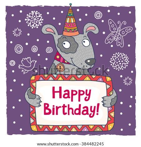 Vector Cute Happy Birthday Card Template Vector 198090869 – Happy Birthday Word Template