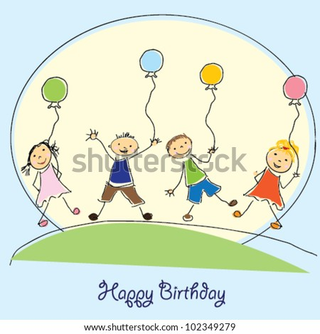 Cute Happy Birthday poster with child