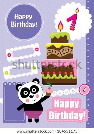 cute happy birthday scrap collection. vector illustration - stock vector