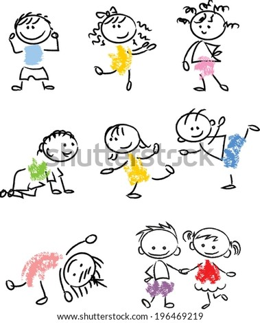 Cute happy cartoon doodle kids  - stock vector