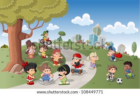 Cute happy cartoon kids playing in green park - stock vector