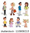 Cute happy cartoon people - stock vector