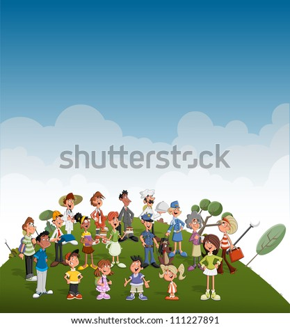 Cute happy cartoon people on green park. Professionals. - stock vector