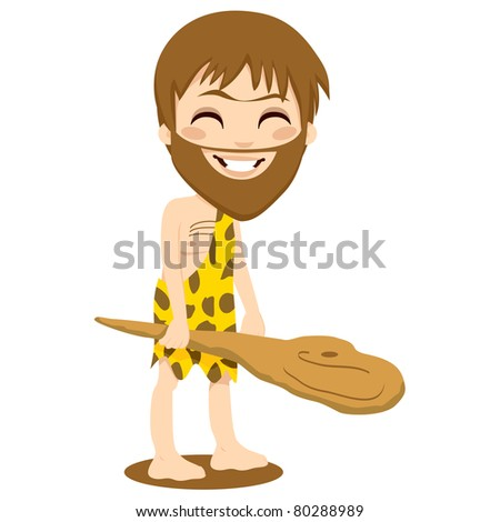 Cute happy caveman smiling and holding a wooden club with his hand isolated on white