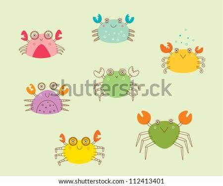 cute happy crab - stock vector