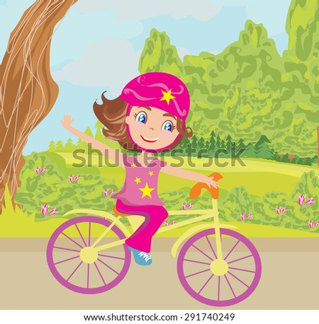 Cute happy girl riding a bike  - stock vector