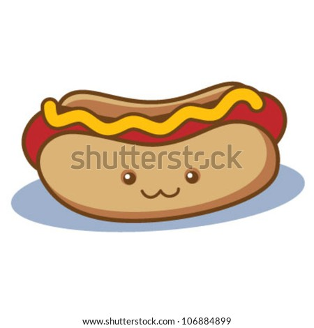 Cute Happy Hot Dog - stock vector