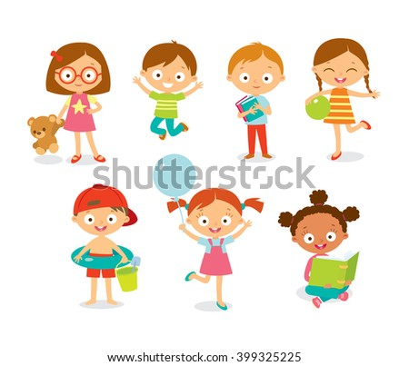 cute happy kids with toys - stock vector
