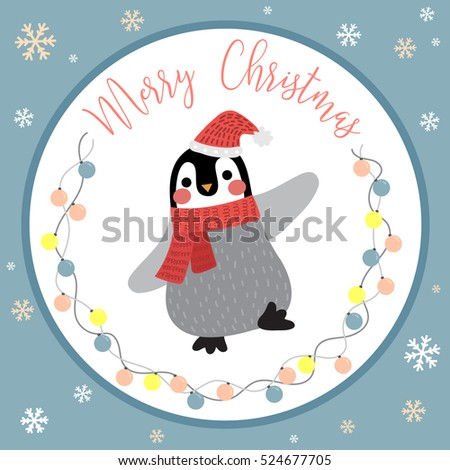Cute Happy Penguin with color light bulbs garland on blue background for Merry Christmas greetings card design.