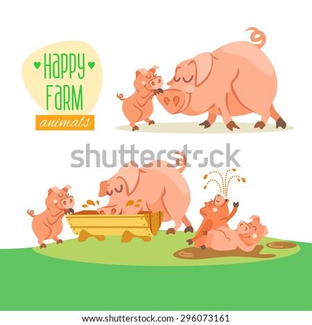 Cute happy pig family. Vector illustration - stock vector