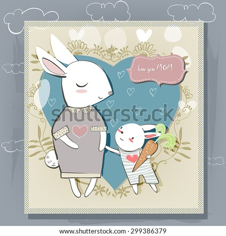 cute hares. greeting card for mothers day. - stock vector