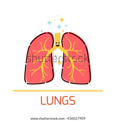 Cute healthy lungs icon made in cartoon style. Lungs cartoon character. Human body organs anatomy icon. Medical human internal organ symbol. Medical concept. Vector illustration. - stock vector