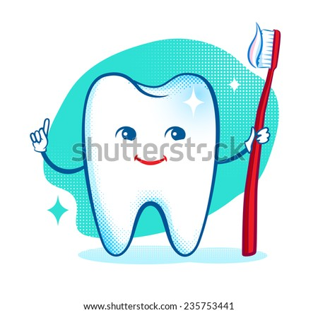 Cute healthy white shiny tooth character. Vector illustration. Isolated.