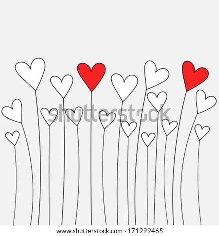 Cute hearts growing. Valentine's day card - vector illustration - stock vector