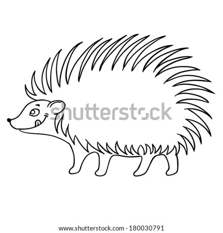 cute hedgehog vector on white background - stock vector